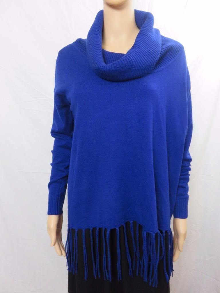 Michael Kors Ribbed Cowl Neck Fringe Hem Sweater Royal Blue Sz XS ...