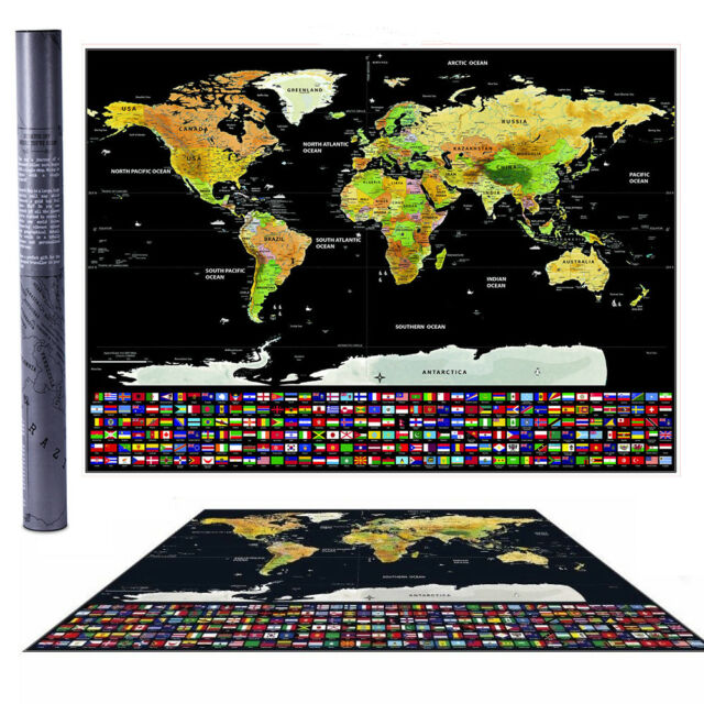 Travel tracker big scratch off world map poster with us states new travel tracker big scratch off world map poster with us states country flags gumiabroncs Images