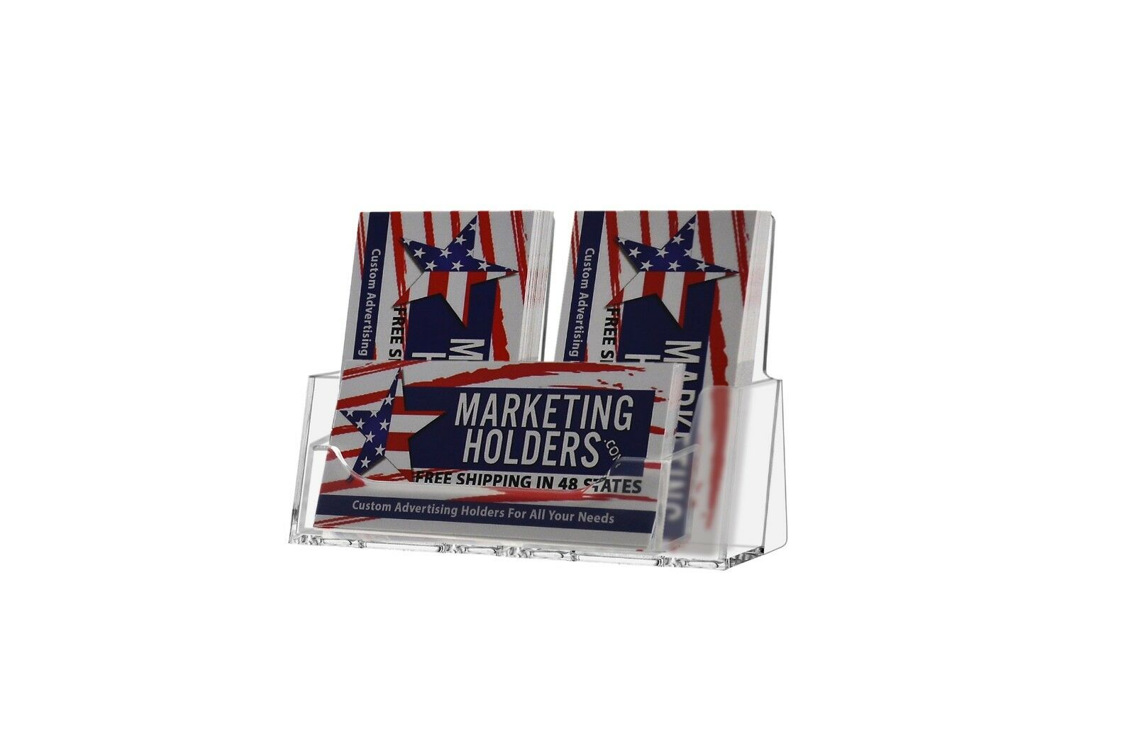 Three pocket freestanding business card holder desktop display stand picture 1 of 3 reheart Choice Image