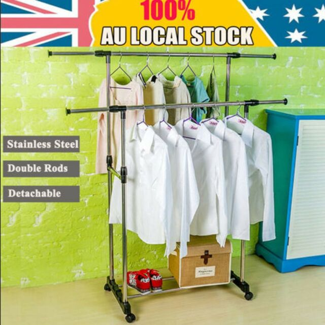 Movable Double Rods Stainless Steel Clothes Rack Hanger Cloth Garment Dryer SD