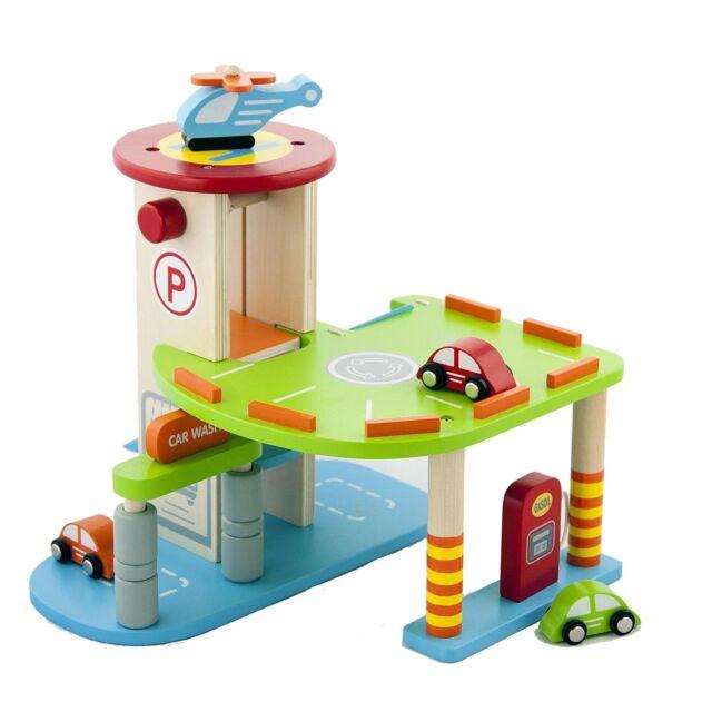 Wooden Toy Car Garage : My first wooden toy car parking garage childrens kids wood