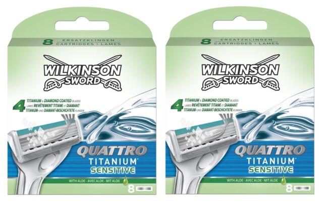 Wilkinson Sword Quattro Titanium Sensitive Razor Blades x 16, 2 Packs of 8