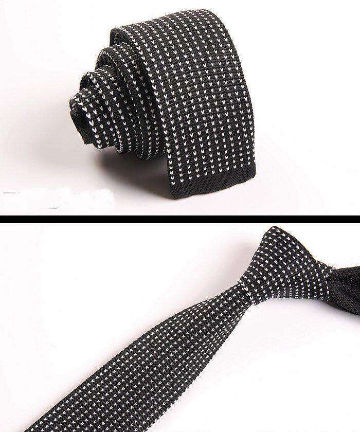 Mens Black White Pattern Tie Knit Knitted Necktie Slim Skinny Woven