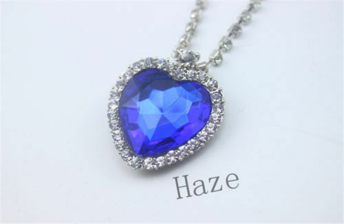 Silver titanic rose heart of the ocean sapphire blue crystal silver titanic rose heart of the ocean sapphire blue crystal necklace pendant aloadofball Image collections