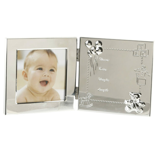 Engraved Baby Data Silver Plated Photo Frame New Baby Christening Gift FS898E