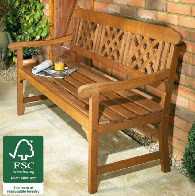 3 Seater Garden Bench High Quality Hardwood Patio Outdoor Indoor Furniture Fsc Ebay