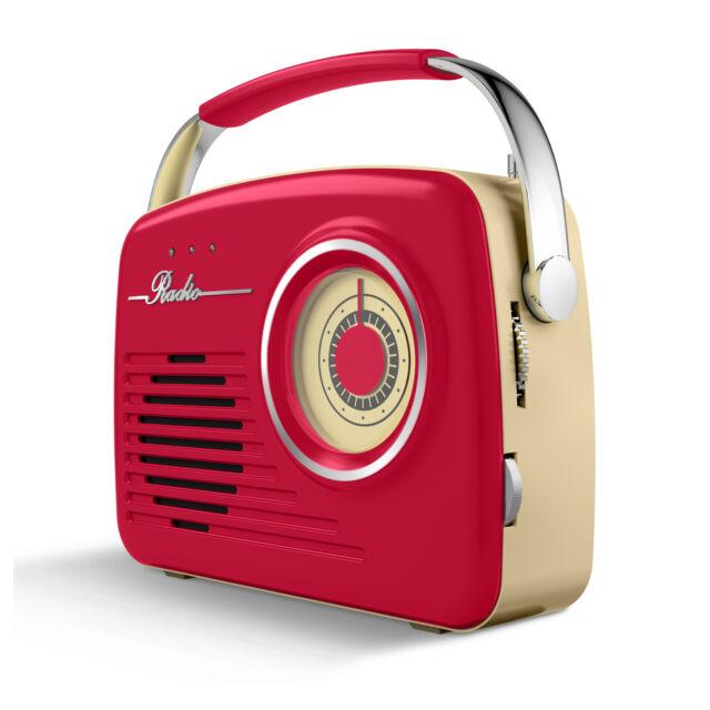 BRAND NEW +3YRS WARRANTY: Akai A60014R AM/FM Red Retro Radio