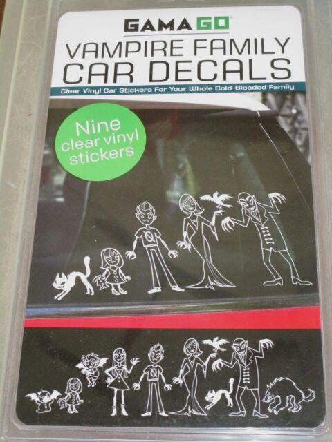 GAMAGO ~ VAMPIRE FAMILY CAR DECALS ~ 9 CLEAR VINYL VAMPIRE FAMILY STICKERS
