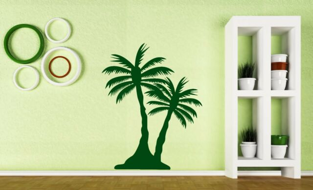 Vinyl Decal Wall Sticker Island Ocean Paradise Palm Coconuts Bananas ...