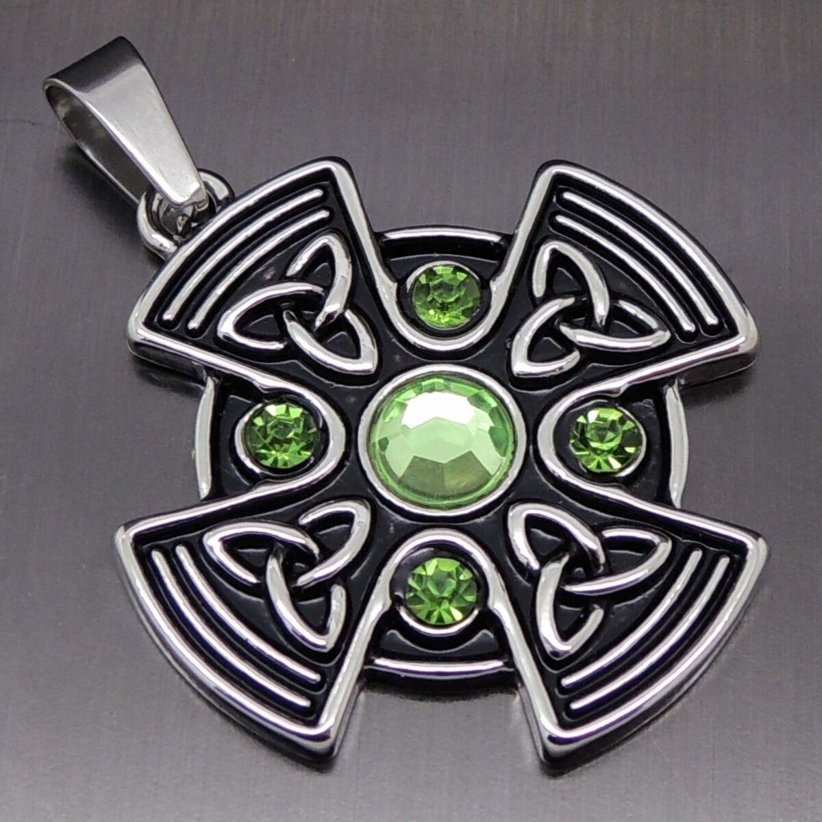 Celtic green sun cross pewter pendant 20 necklace pp 295 g ebay picture 1 of 3 aloadofball Choice Image