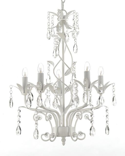 Wrought Iron And Crystal 5 Light White Chandelier Pendant Lighting H20