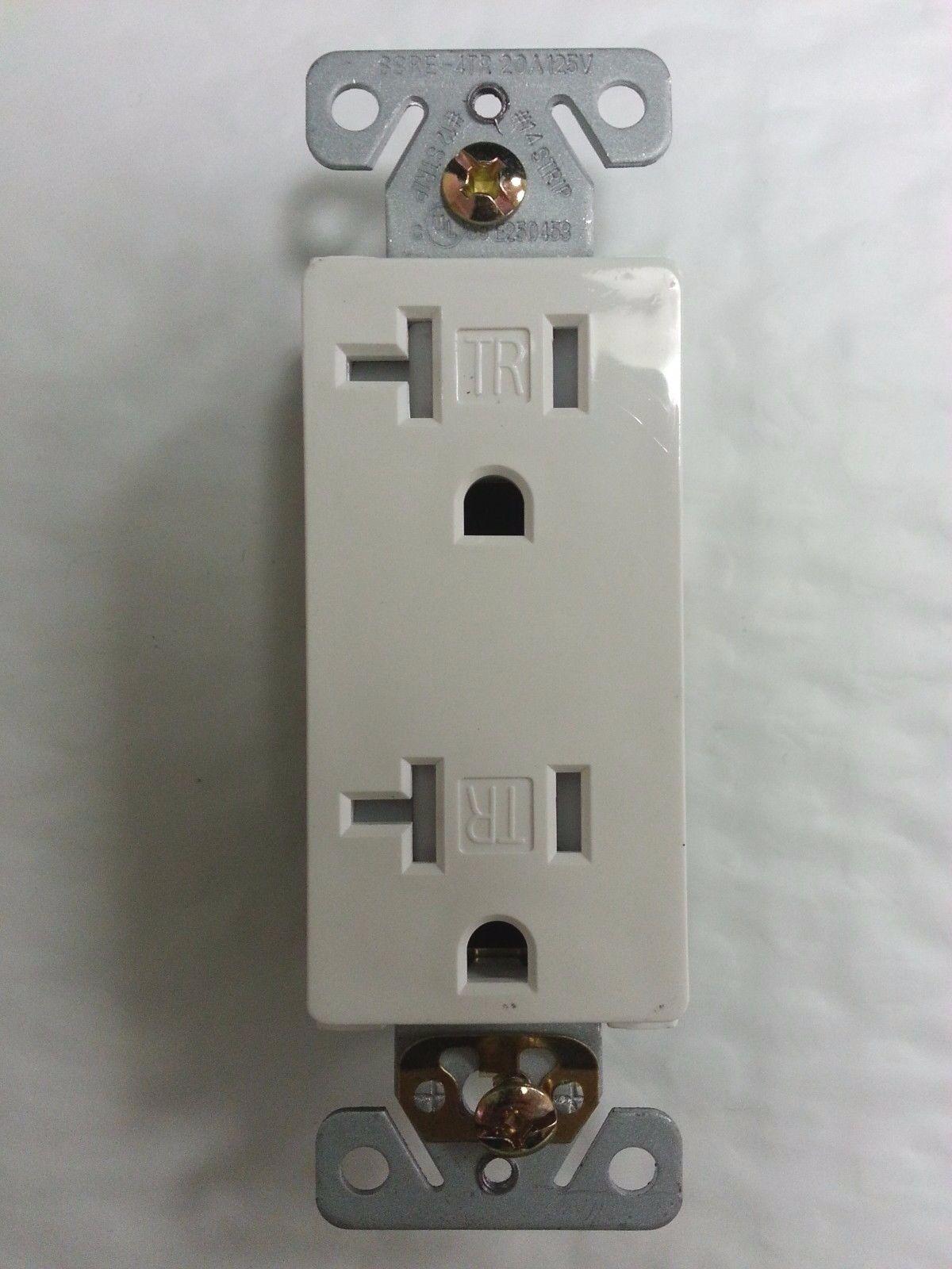 20 Pc) Decorator Duplex Receptacles 20 Amp Tamper Resistant White ...