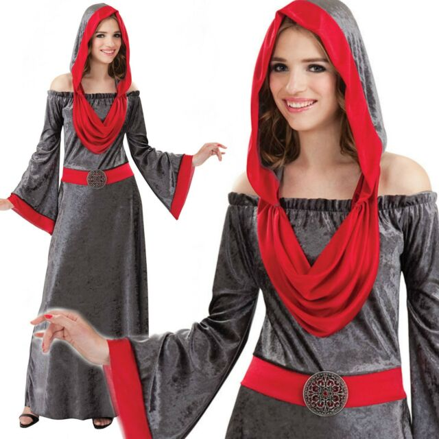 LADIES GOTHIC HALLOWEEN VAMPIRE RENAISSANCE FANCY DRESS COSTUME MEDIEVAL TUDOR