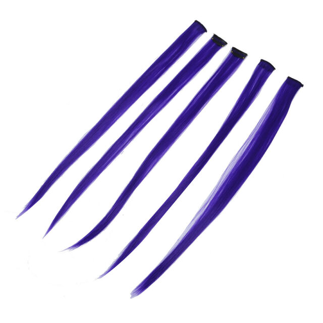5Pcs Clip-on In Hair Extensions Straight Wigs 23.6 Inch -Blue Violet J4H8