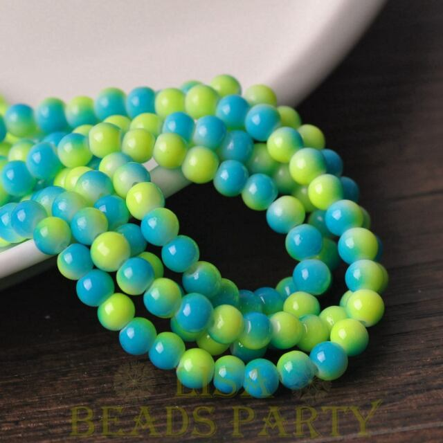 New 50pcs 6mm Round Glass With Color Coated Loose Spacer Beads Yellow&Lake Blue