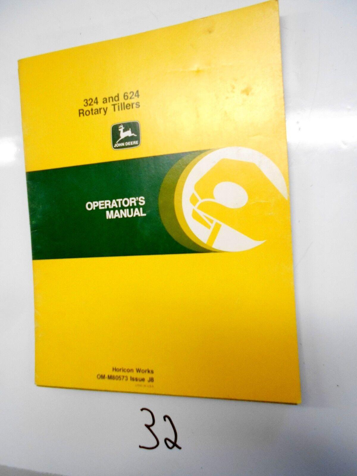 genuine john deere 324 and 624 rotary tillers operator s manual om rh ebay com John Deere 820 Tiller John Deere 624 Tiller Manual