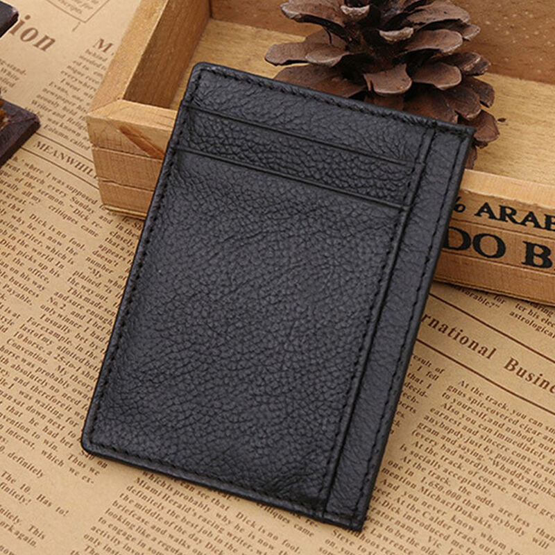 Mens Wallet Money Clip Credit Card Holder ID Business Leather Mini ...