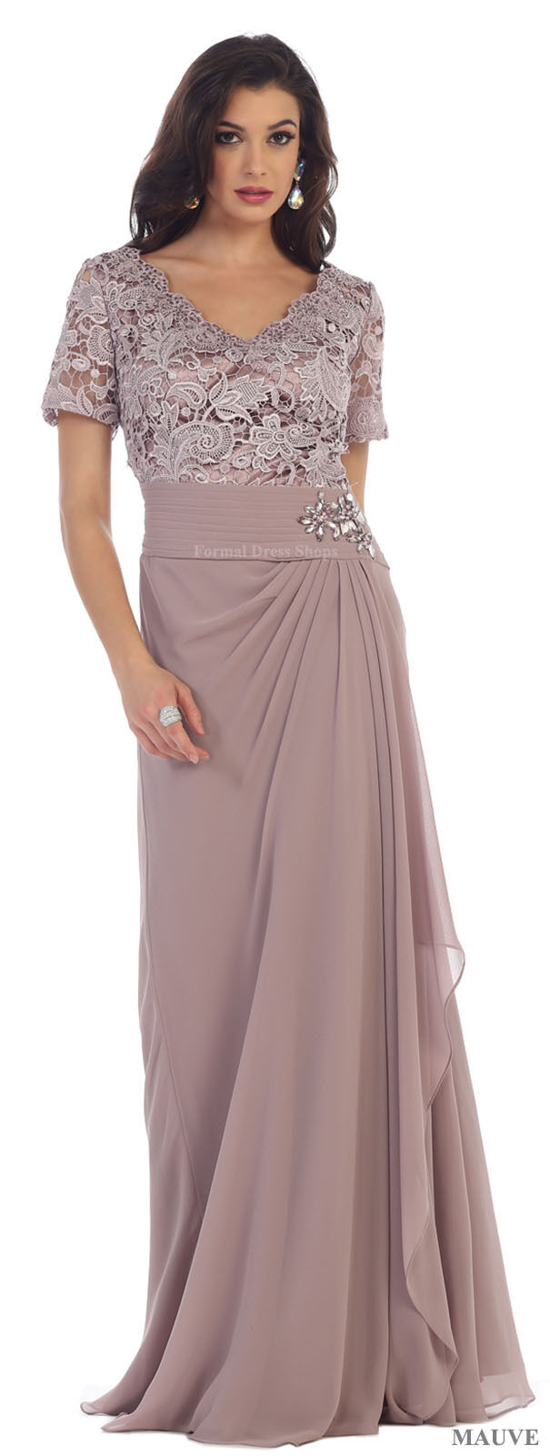 DESIGNER Short Sleeve Evening Gown Special Occasion Banquet Dress ...