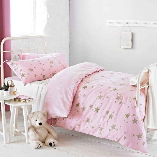 textile warehouse star pink gold childrens girls kids duvet cover bedding set