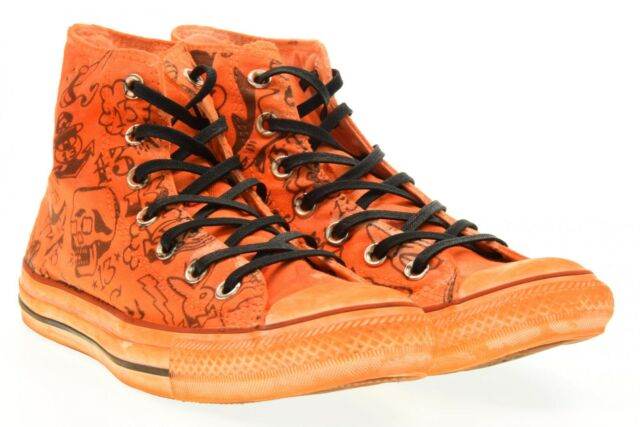 Converse scarpe unisex sneakers alte 156895C ORANGE PRINT SHARK P17