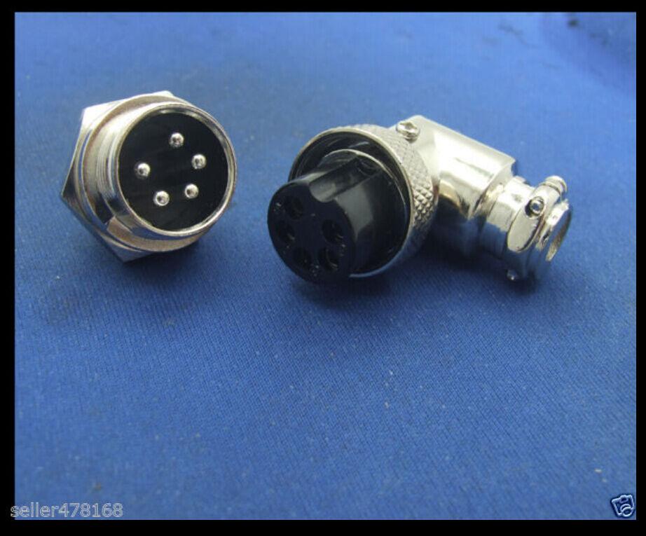 2 Set 16mm Gx-16 5-pin XLR Aviation Plug Radio Right Angle Connector ...