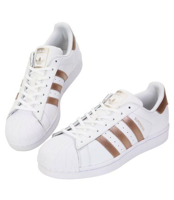 Adidas Originals Superstar BA8169 Athletic Sneakers Shoes White & Gold