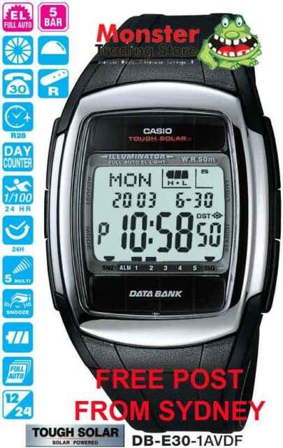 AUSSIE SELER CASIO WATCH SOLAR WORLD TIME DB-E30-1 DB-E30-1A DBE30 12-MNTH WRNTY