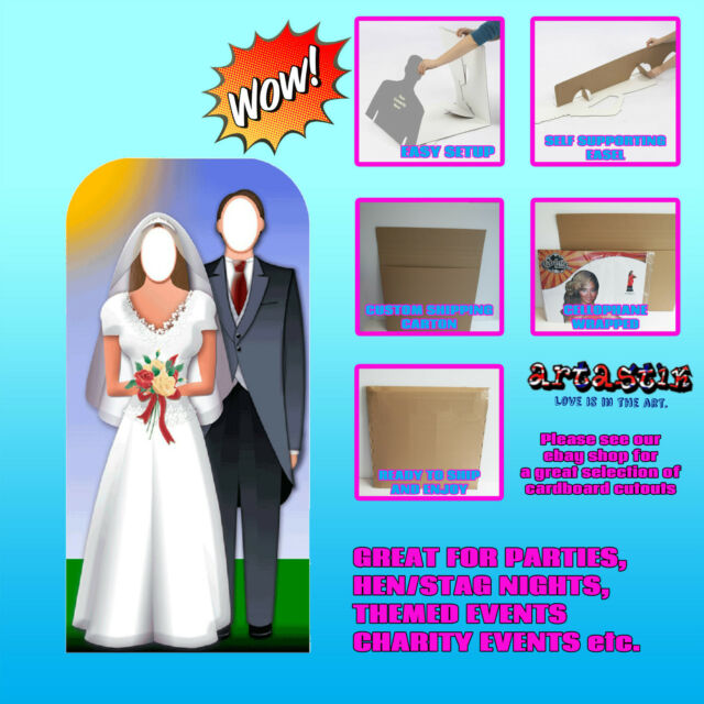 WEDDING COUPLE LIFE SIZE CARDBOARD CUTOUT STAND IN ALL OCCASIONS ANNIVERSARY FUN