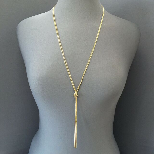 Long gold multi knotted chain rope style simple bar tassel long gold multi knotted chain rope style simple bar tassel pendants necklace aloadofball Choice Image