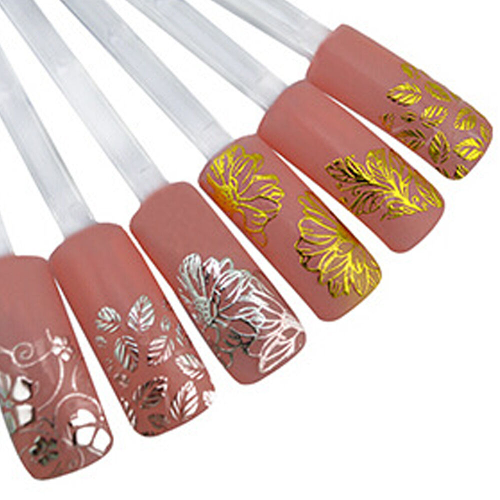 3d Nail Art Stickers Decals Wraps Metallic Gold Lace Bowknot Flowers