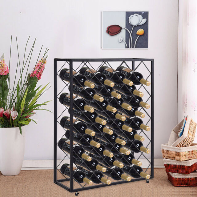 32 Bottle Wine Rack Metal Storage Display Liquor Cabinet W/Glass Table Top  Black