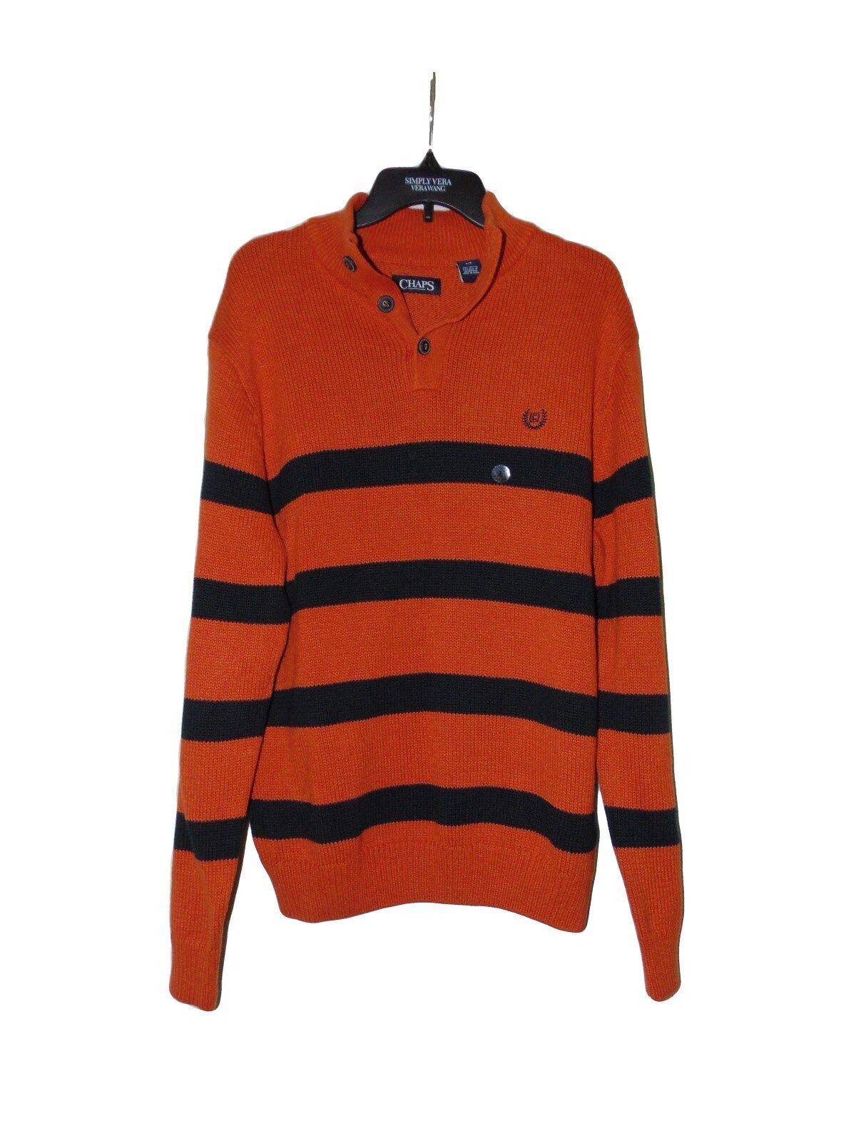 Chaps by Ralph Lauren Men's Large Navy Stripe Orange Sweater 3 ...