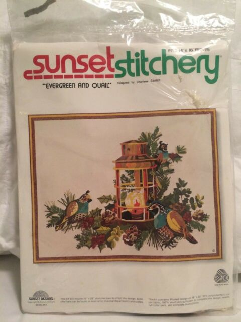 Vintage Sunset Stitchery Evergreen And Quail Crewel Embroidery Kit