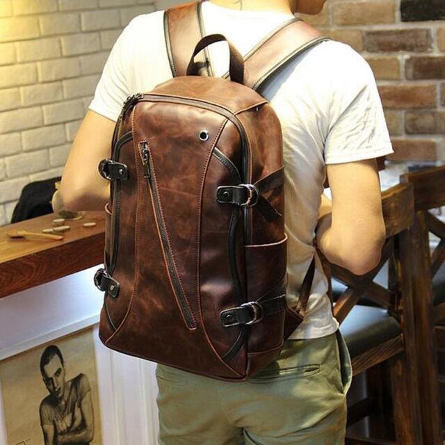Vintage Men's Leather Backpack Bags Shoulder Briefcase Rucksack ...