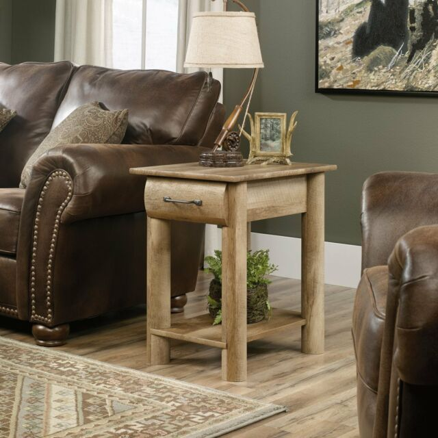 Sauder 416561 Boone Mountain Side Table With Drawer In Craftsman Oak Finish New