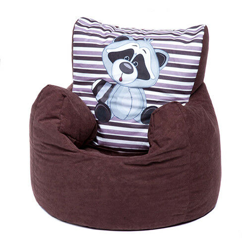 Brown Racoon Childrens Character Filled Beanbag Kids Bean Bag Chair Bedroom