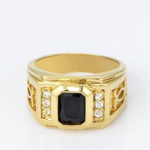 Mens Yellow Gold Filled Square Black Onyx Wedding Bands Pinky Ring Size 10