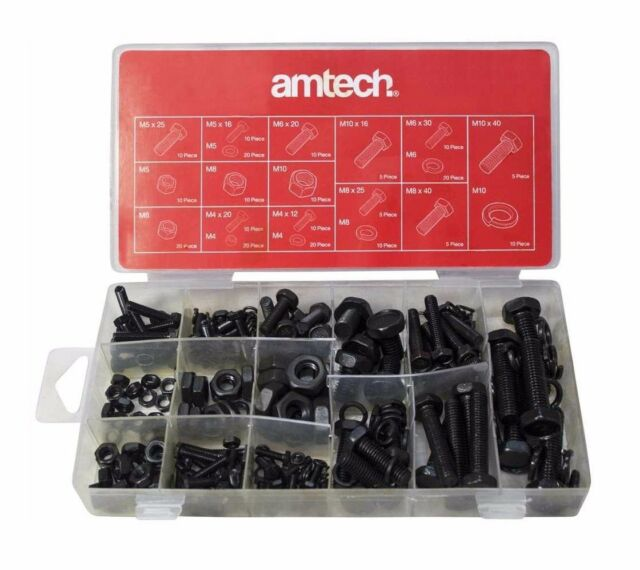 240 PC Nut and Bolt Washer Lock Set M4 M5 M6 M8 M10 in Storage Case