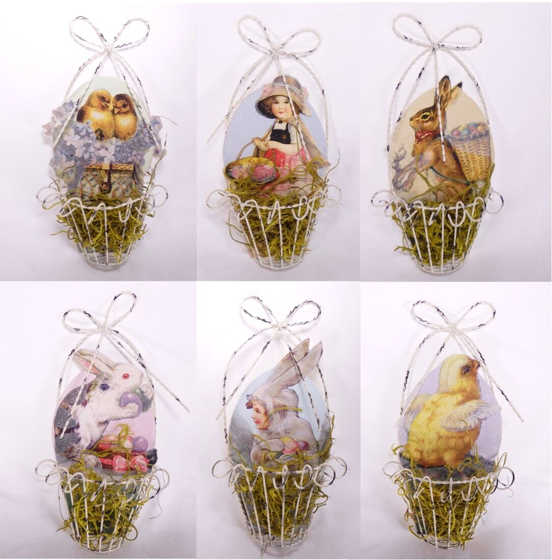 Vintage Style Wire Easter Basket Ornaments Set of 6 Bunny Rabbit ...