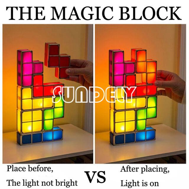 FAST LED Night Light Desk Lamp Tetris DIY 3D Constructible Retro Game  Stackable