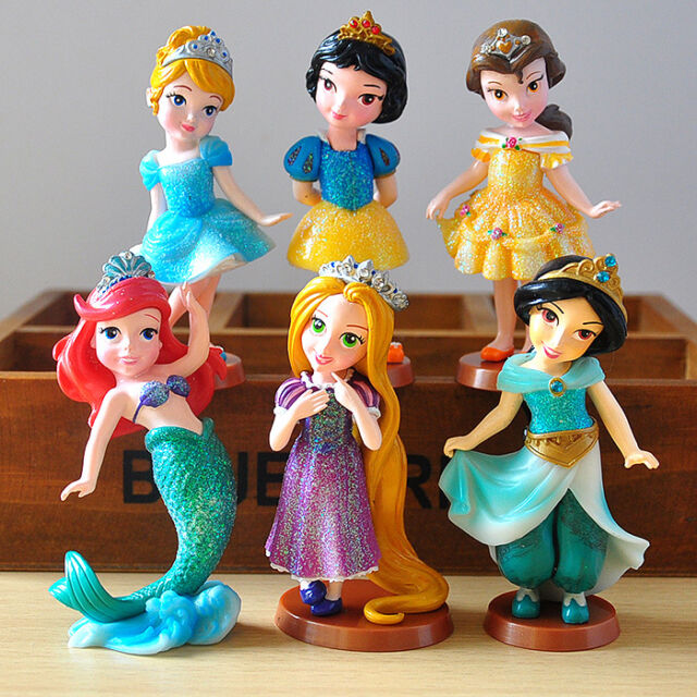 Disney Princess 6pc Set Figures Toy Doll Cake Topper Ariel Snow