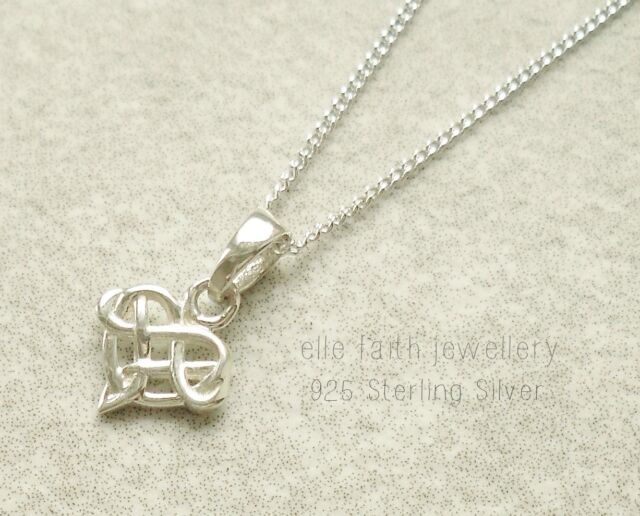 925 sterling silver small celtic knot pendant with necklace chain ebay 925 solid sterling silver celtic knot small heart pendant necklace with chain aloadofball