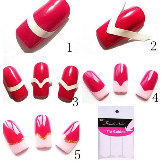 10 Sheets 480pcs French Manicure UV GEL Polish Tip Guide Strip Nail ...