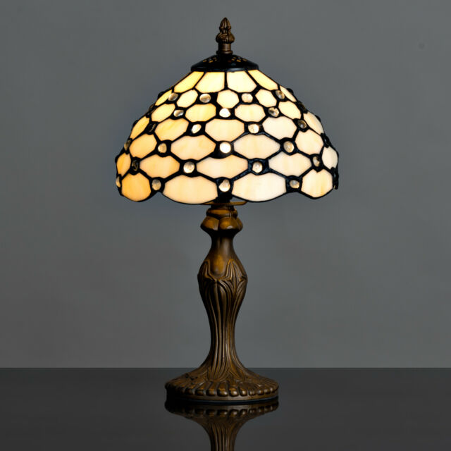 Cream beaded tiffany style stained glass table lamp bedside light cream beaded tiffany style stained glass table lamp bedside light lounge aloadofball Choice Image