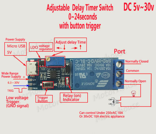 Dc 5v 12v 24v Adjustable Trigger Delay Timing Timer Relay