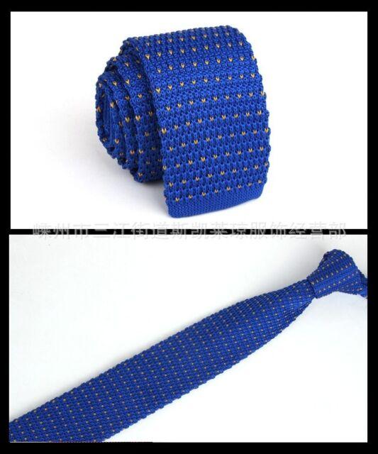 Mens Royal Blue Pattern Tie Knit Knitted Necktie Narrow Skinny