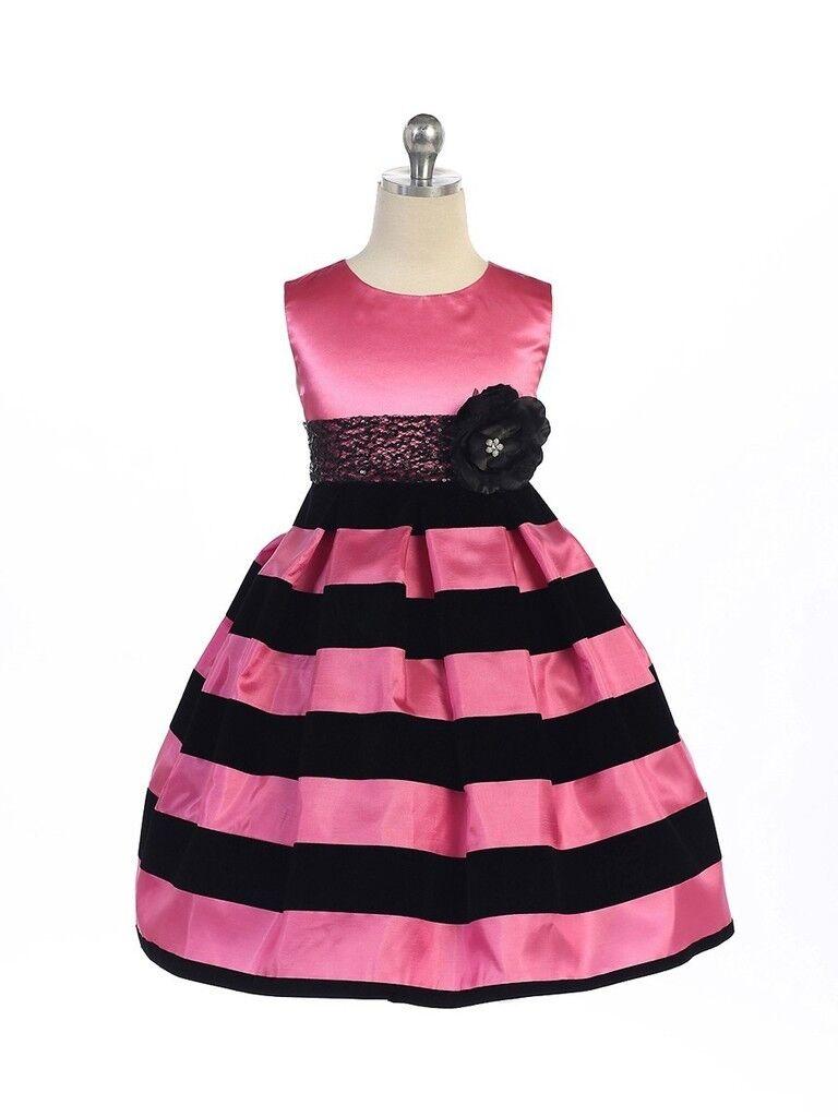 Posh Hot Pink Black Stripes Pageant Flower Girl Dress Crayon Kids
