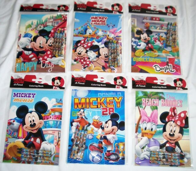 12 Mickey Mouse Friend Coloring Book 48 Crayon Disney Party Favor ...