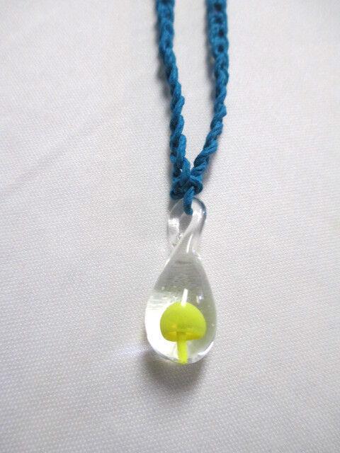 Turquoise blue hemp yellow glass mushroom pendant necklace shroom picture 1 of 3 aloadofball Images