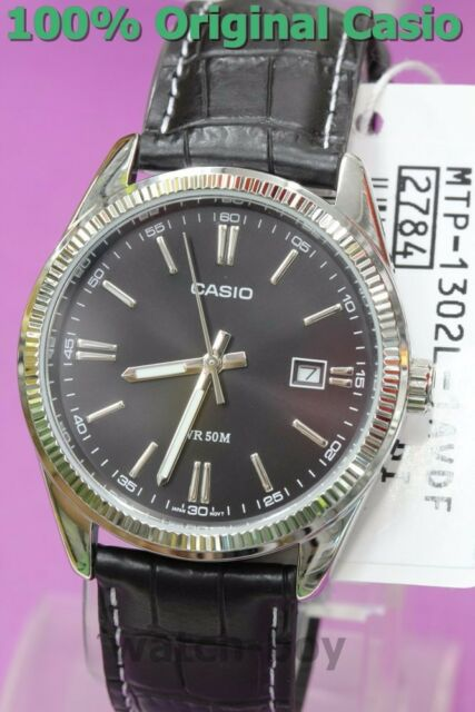 MTP-1302L-1A Black Casio Genuine Leather Band Watches Men's Date Analog Quartz